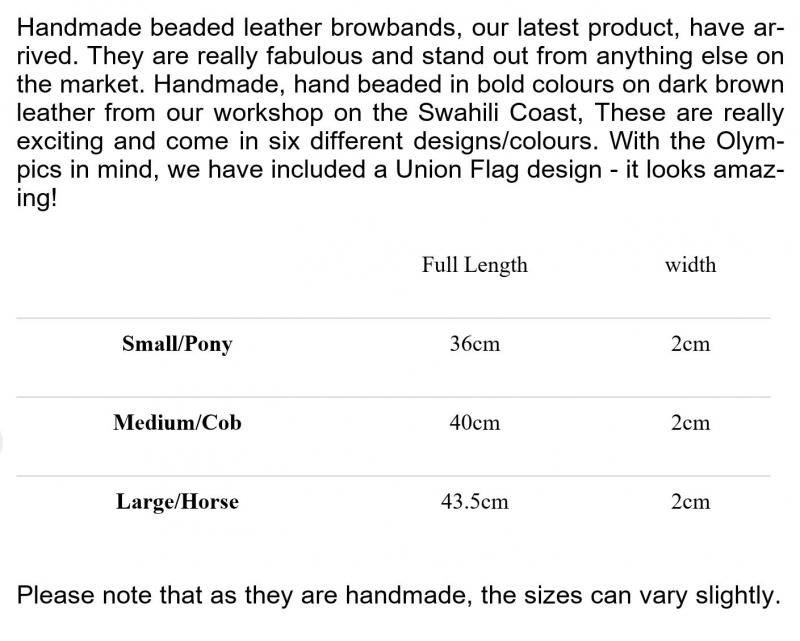 Browbands - Exciting new product to Simba Jones! sizing guide