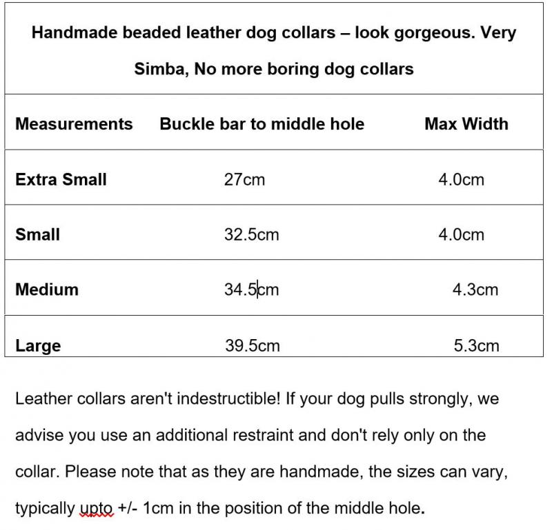 Whippet/Hound Collars sizing guide